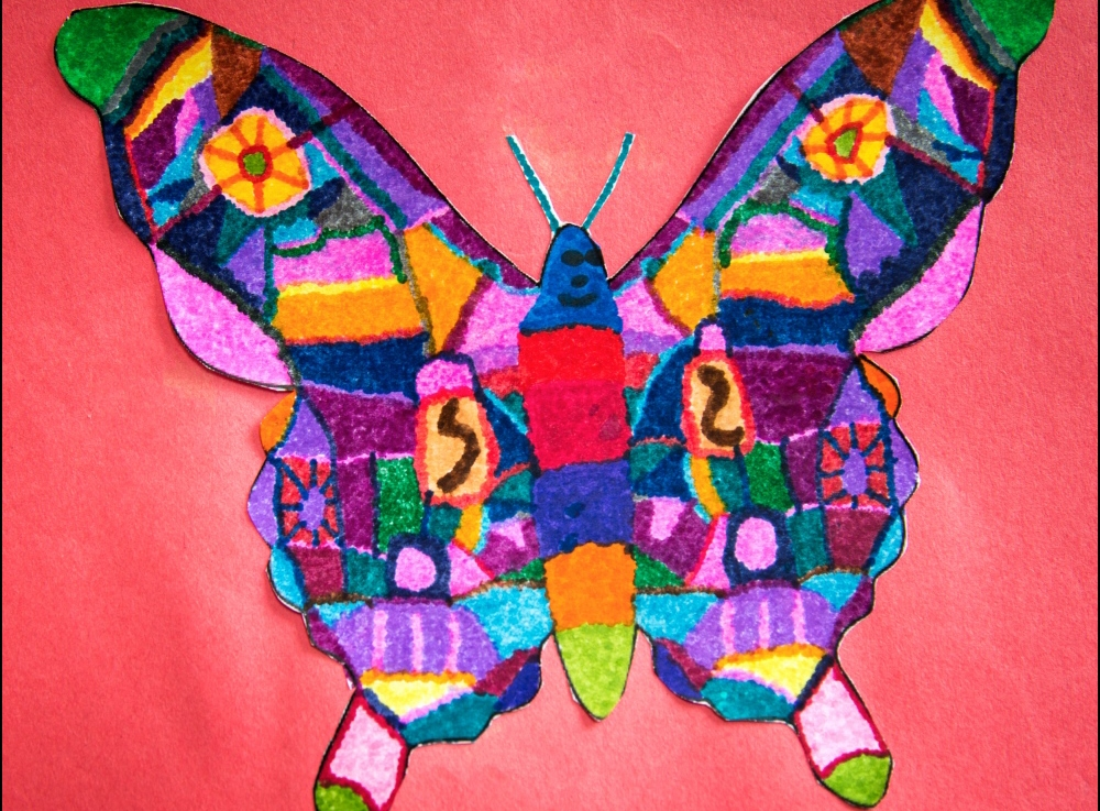 1st Grade – Pointillism and symmetry with insect designs