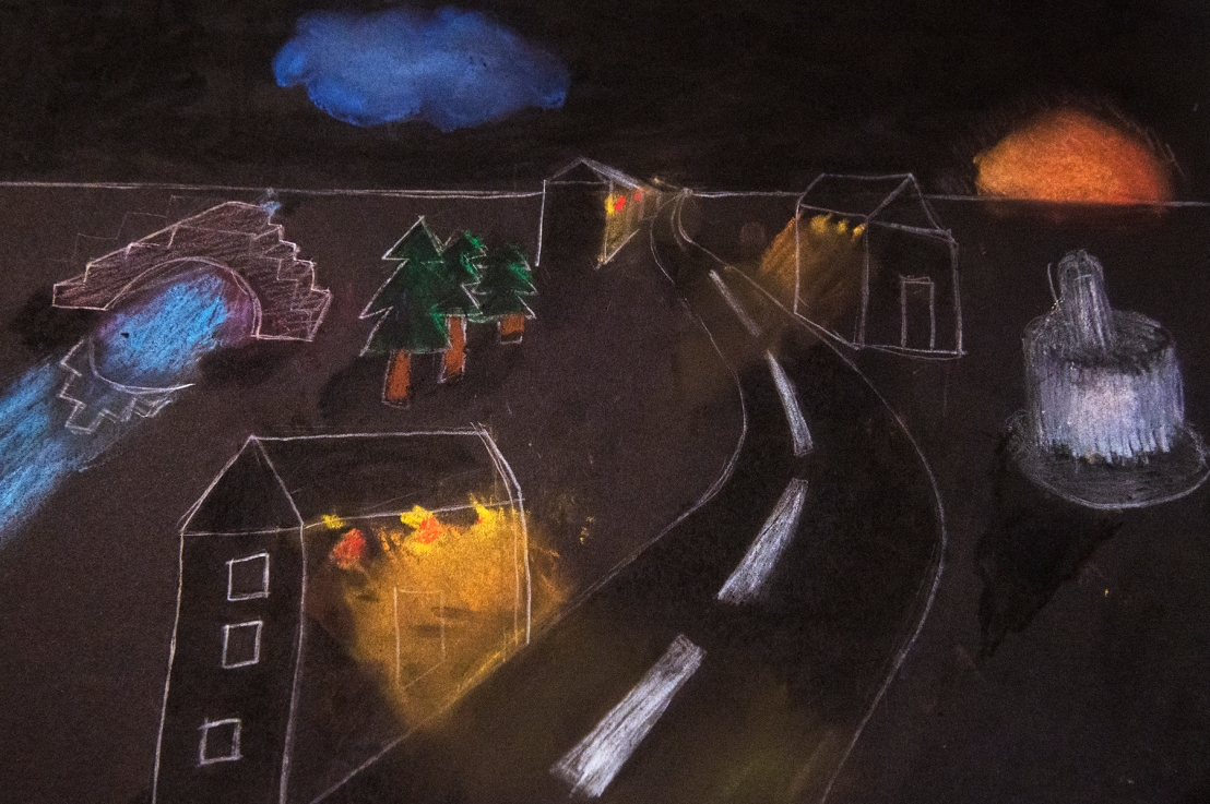 5th Grade –  Nighttime one-point perspective