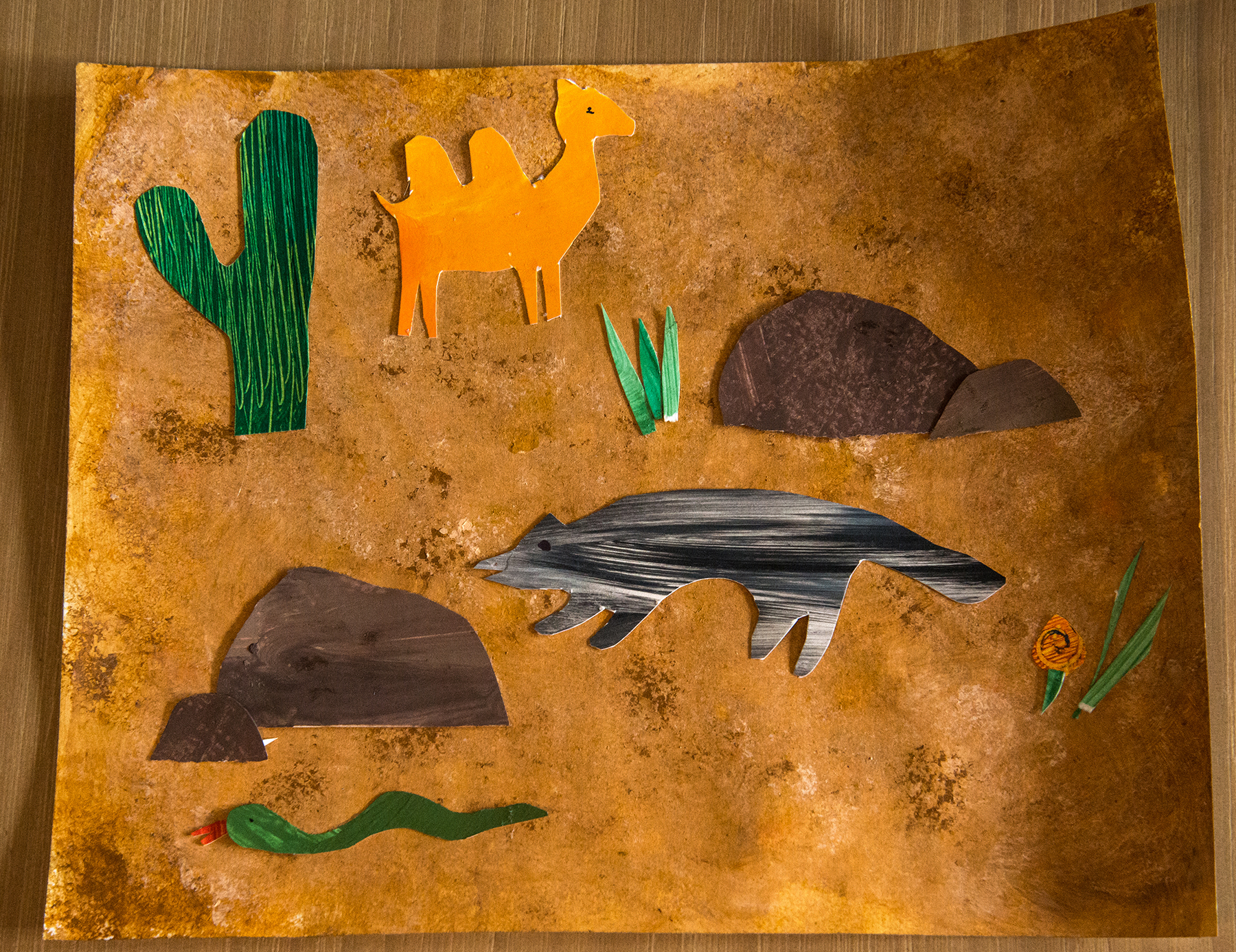 Kindergarten art - Eric Carle-style ecosystem collage