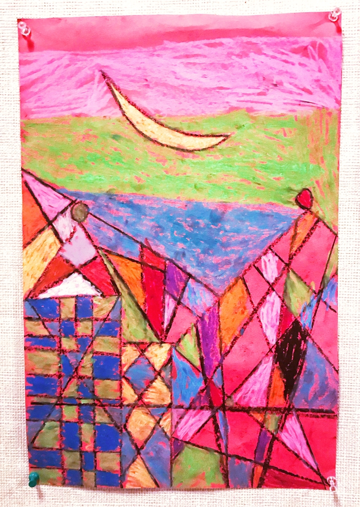 "3rd grade student's oil pastel ""cityscape"" inspired by Paul Klee's magic square paintings"