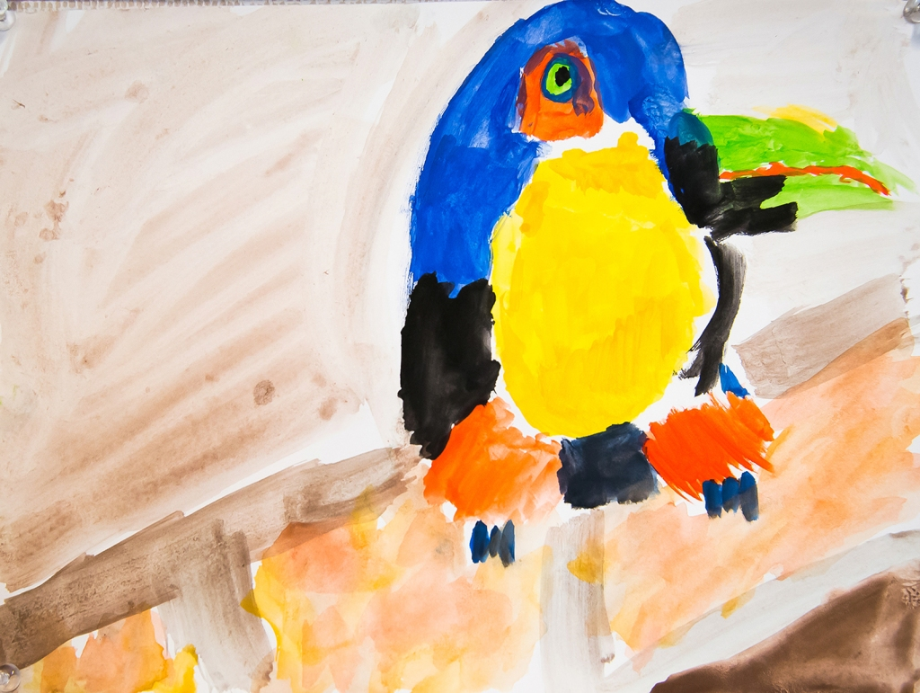 4th grade - Impressionist- (and subjective-) style animal painting representing a blue and yellow parrot