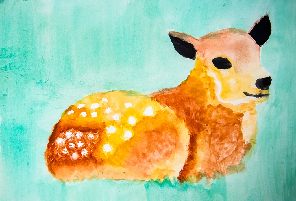 4th grade - Impressionist- (and subjective-) style animal painting representing a spotted doe