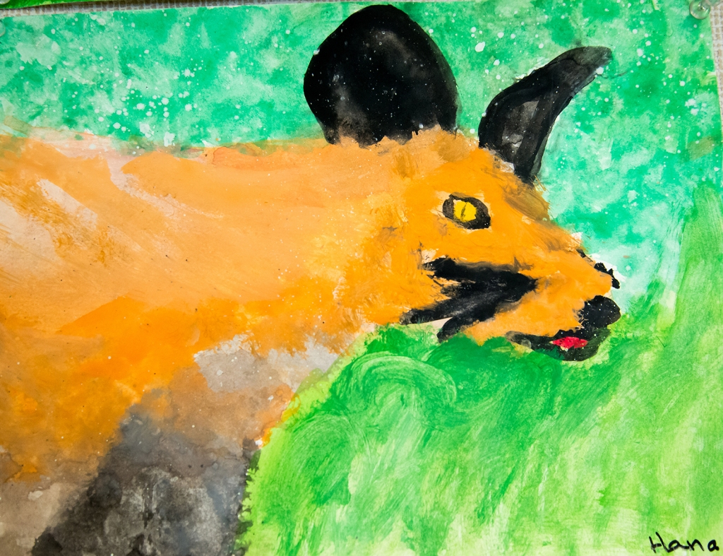 4th grade - Impressionist- (and subjective-) style animal painting representing a fox