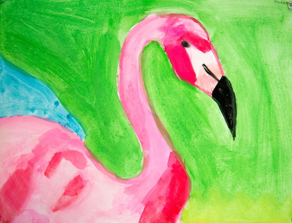 4th grade - Impressionist- (and subjective-) style animal painting of a flamingo