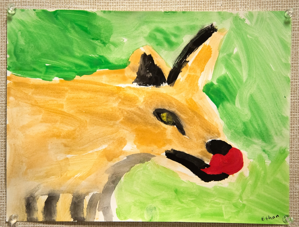 4th grade - Impressionist- (and subjective-) style animal painting representing a fox sticking its tongue out