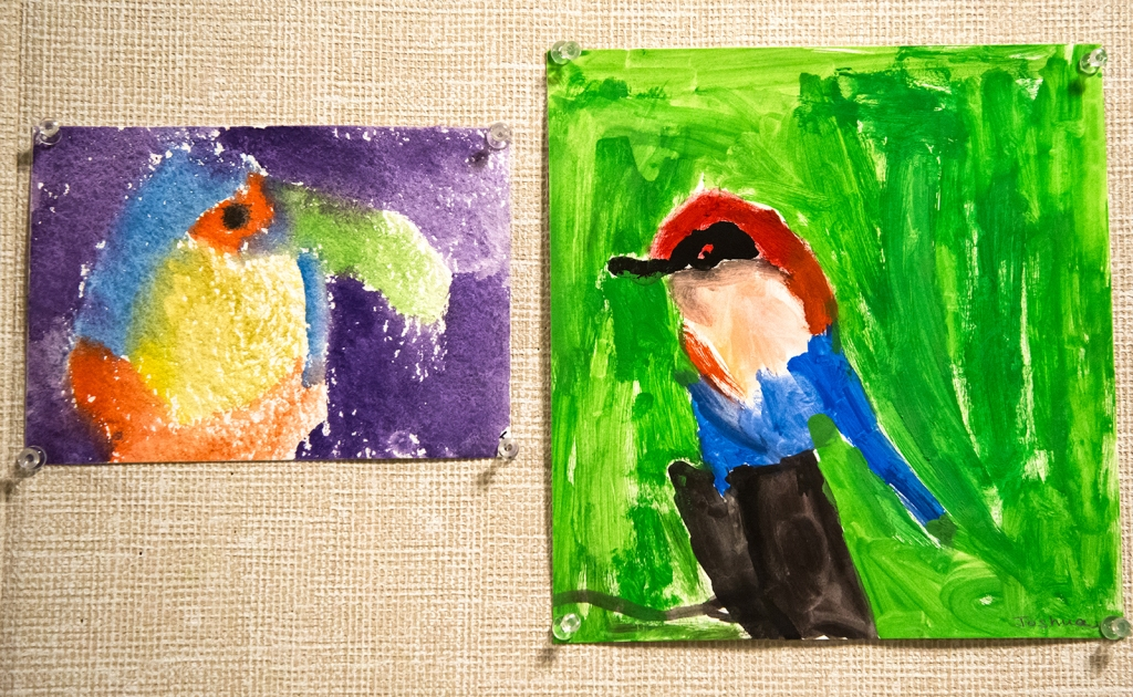 4th grade - Impressionist- (and subjective-) style animal paintings, one of a toucan, the other of a robin