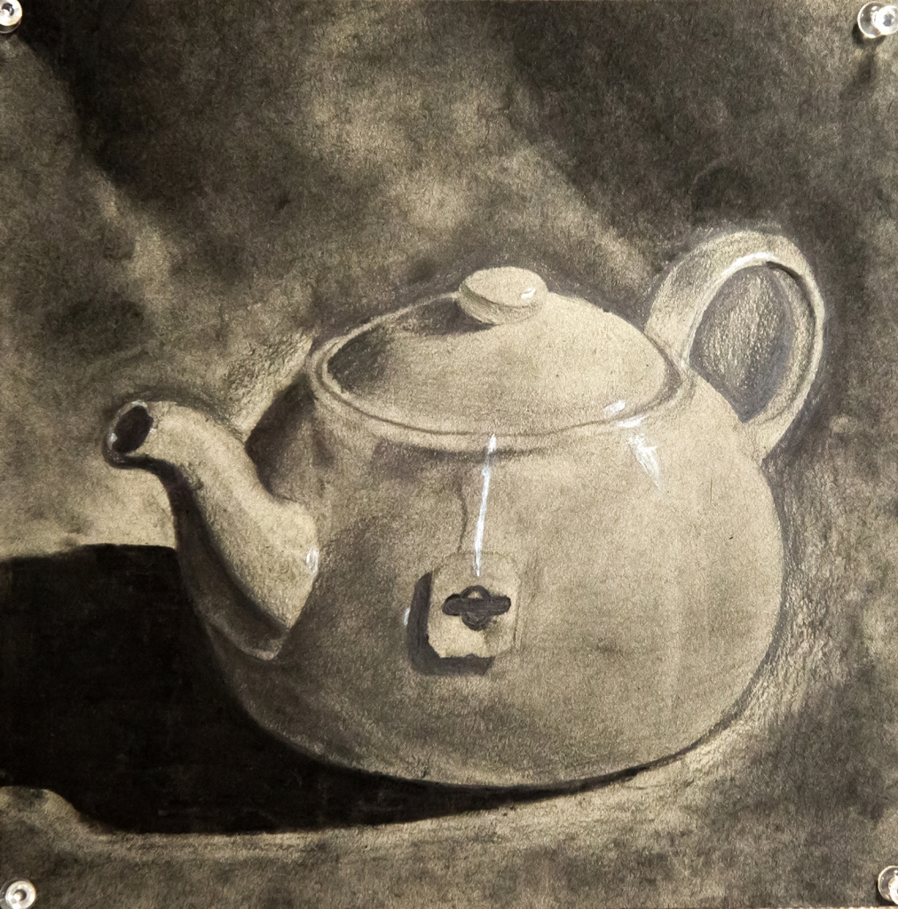 6th grade - chiaroscuro still life drawing in graphite and charcoal representing a teapot