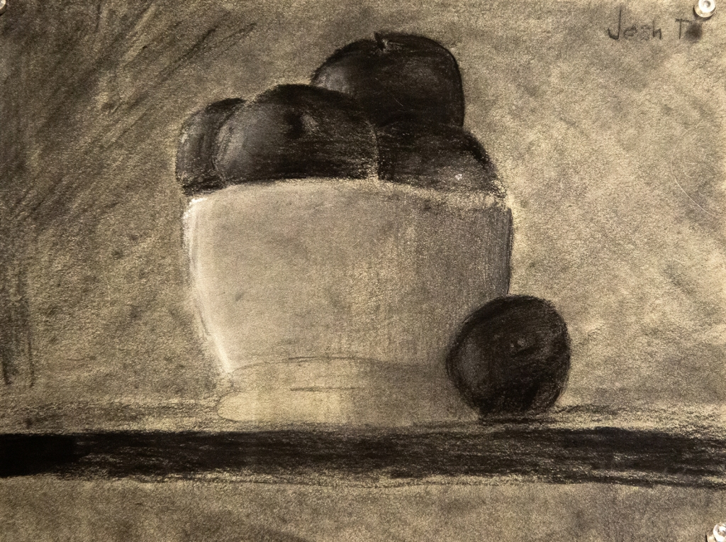 6th grade - chiaroscuro still life drawing in graphite and charcoal representing a bowl of apples