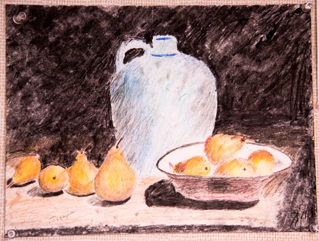 7th grade colored pencil still life of a blue jug, a bowl of pears and four pears on a table