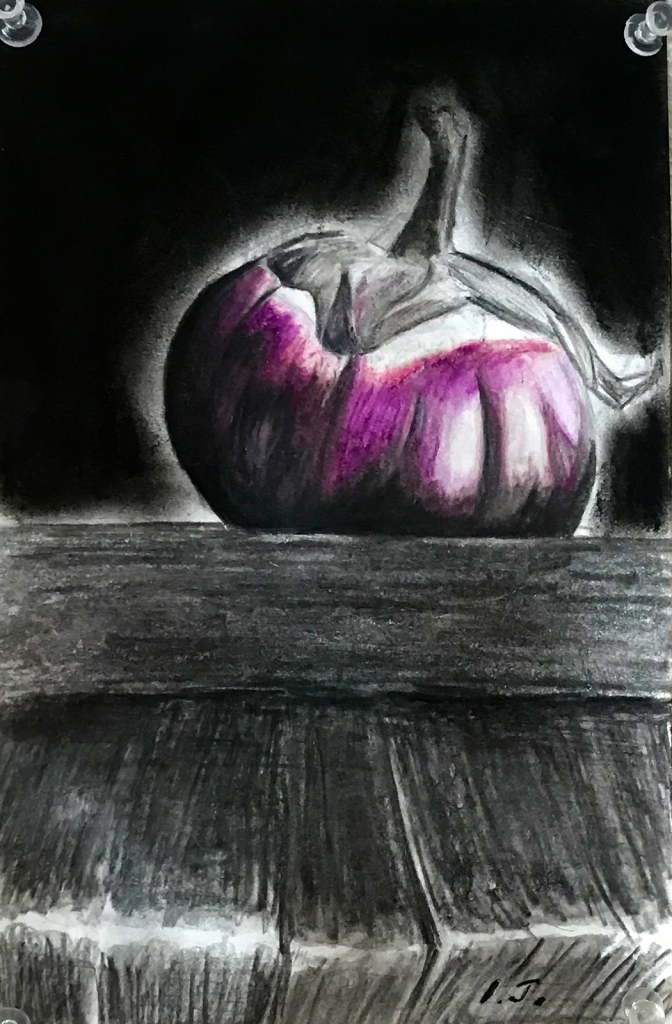 7th grade colored pencil still life of an eggplant