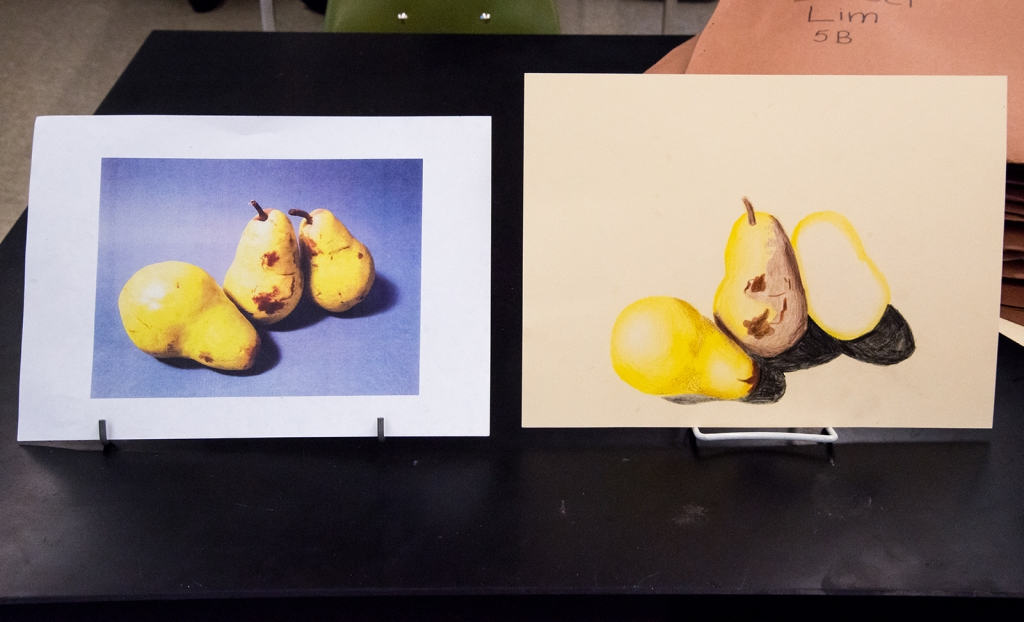 7th grade colored pencil still life in progress, drawing of three pears