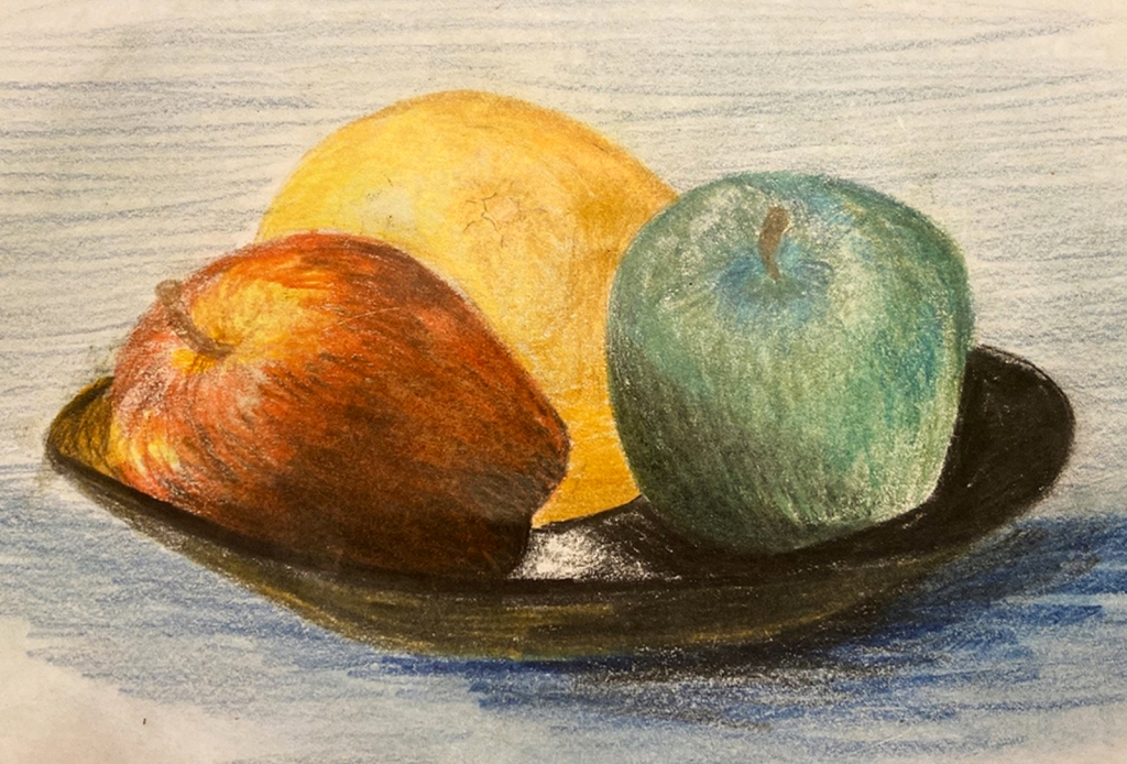 7th grade colored pencil still life of a red apple, green apple and an orange on a plate