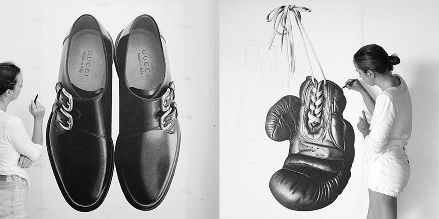 two images of artist CJ Hendryy working on her drawings, one of a pair of men's Gucci shoes, another of a boxing glove