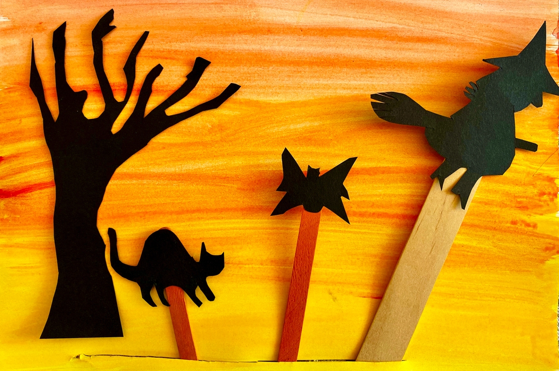 Kindergarten – Halloween Shadow Puppets inspired by Wayang Kulit puppets