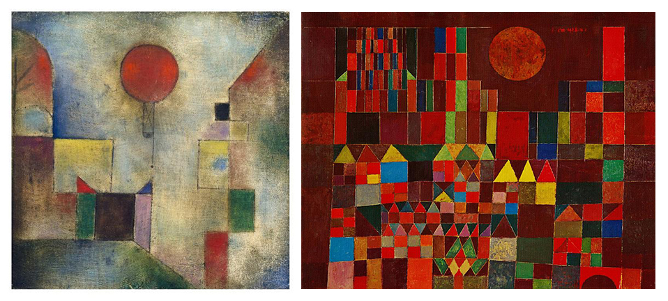 """The Red Balloon"" and ""Castle and Sun"" from Paul Klee's magic square series"