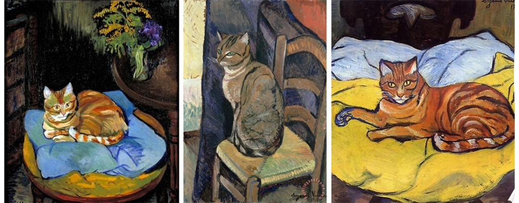 Three different paintings of cats by Suzanne Valadon