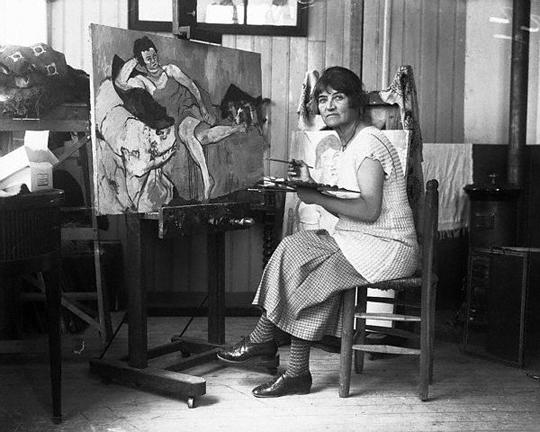 Artist Suzanne Valadon in her studio in 1926