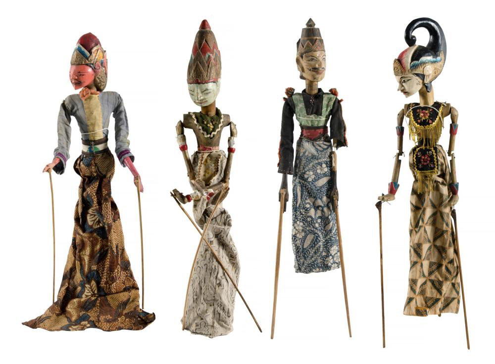 A set of four Wayang Golek rod dolls