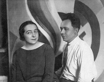 A black and white photo of artists Sonia and Robert Delaunay