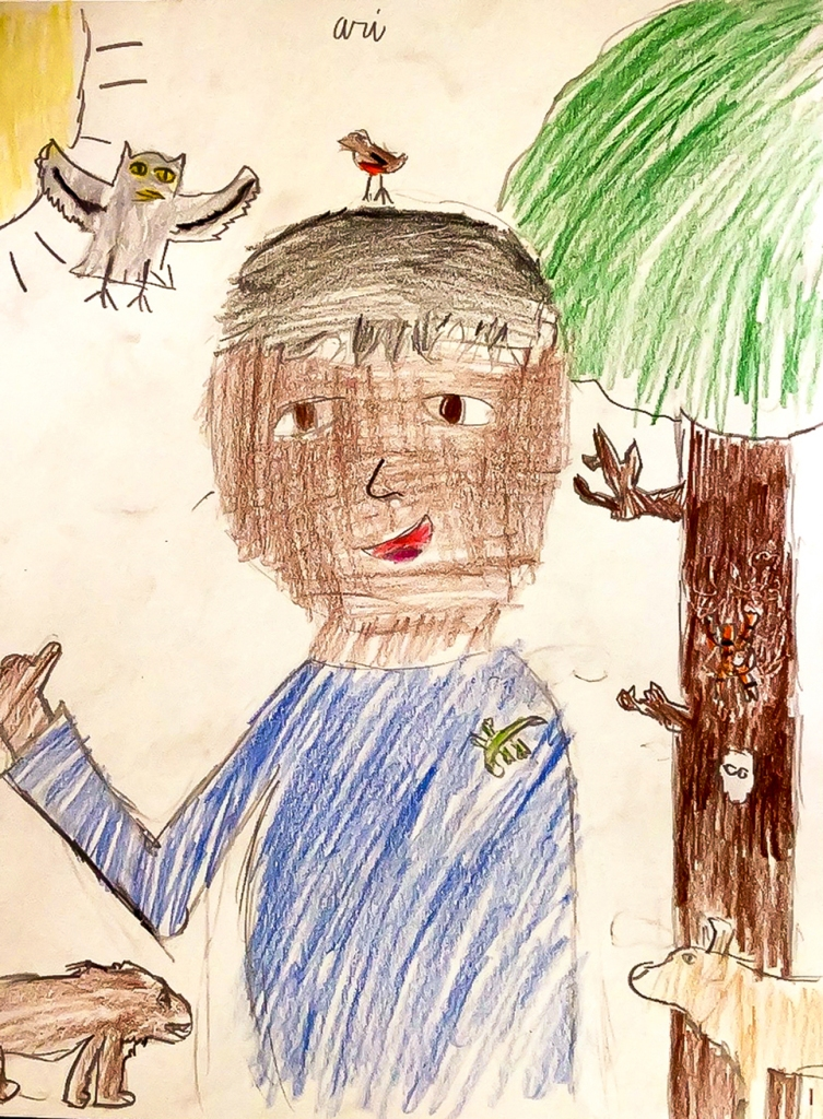 1st grade art - Frida Kahlo-inspired self-portrait with animals