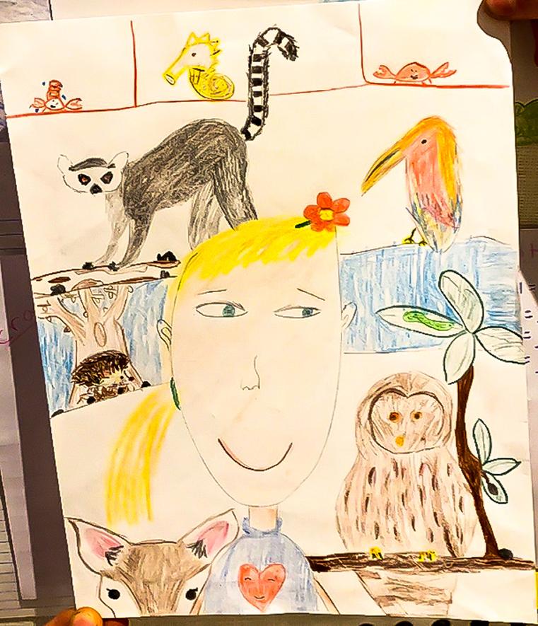 1st grade art - Frida Kahlo-inspired self-portrait