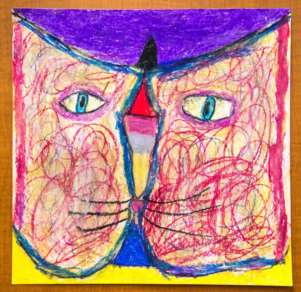 2nd grade - A Paul Klee-style cat head