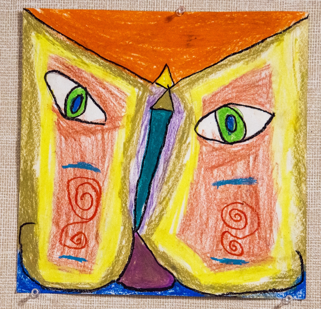 2nd grade - A Paul Klee-style cat head, constructed of basic shapes