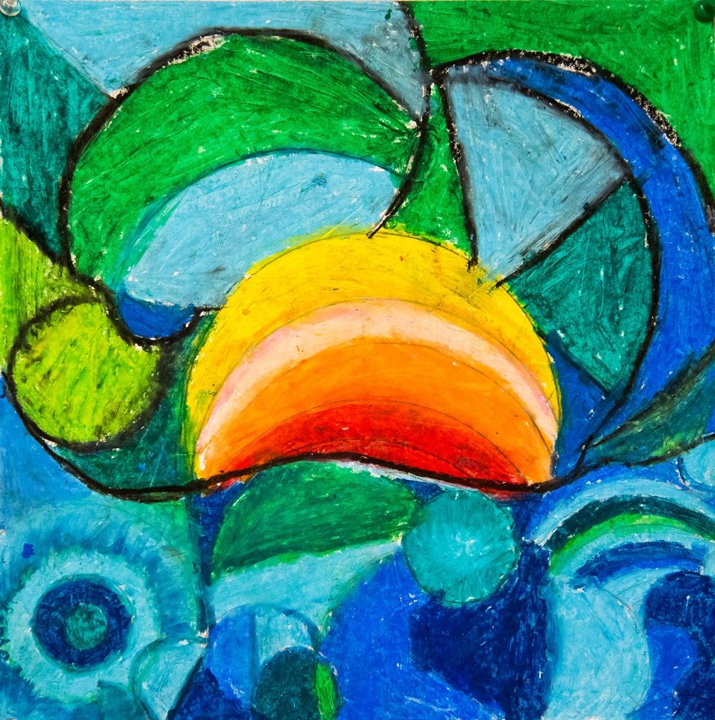 4th grade art - An Orphism-inspired oil pastel illustration