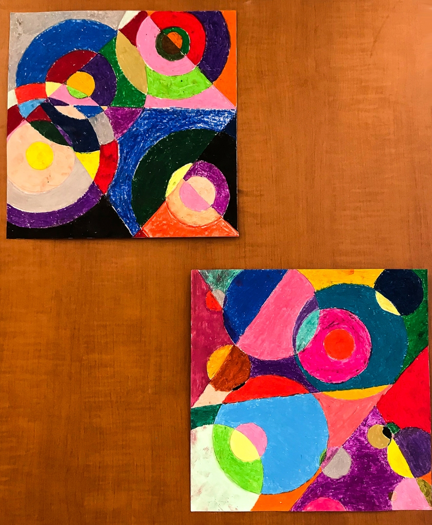 Two Orphism-style oil pastel illustrations by 4th grade students