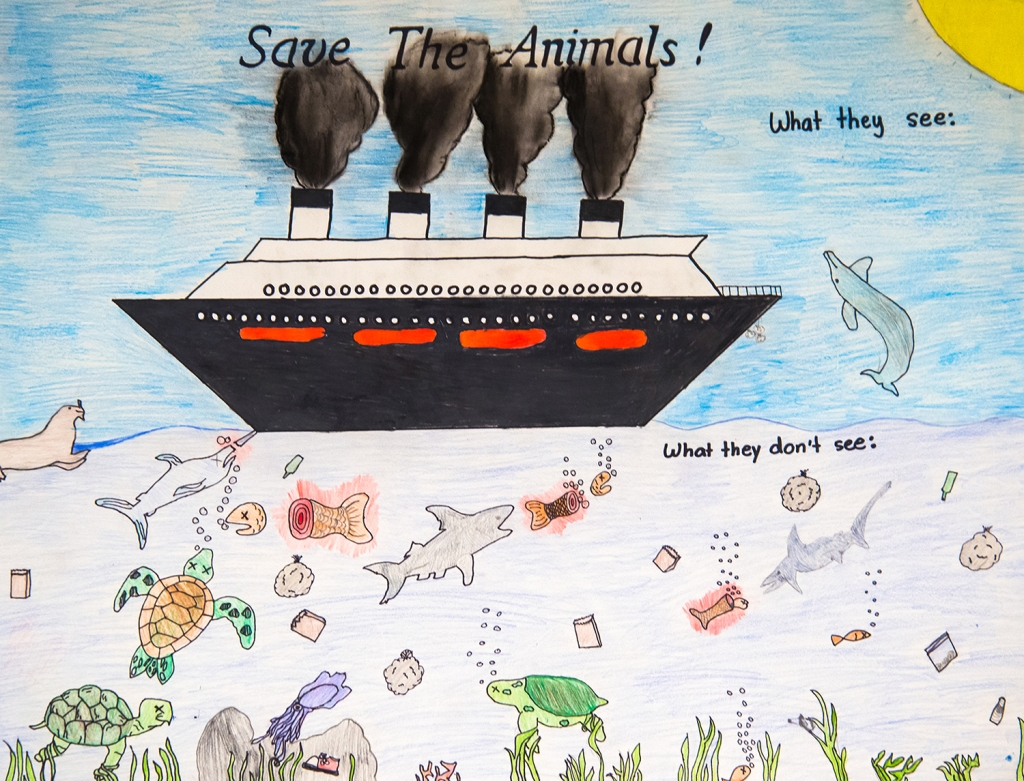 6th grade art lesson - Nonprofit organization advertisement advocating ocean health