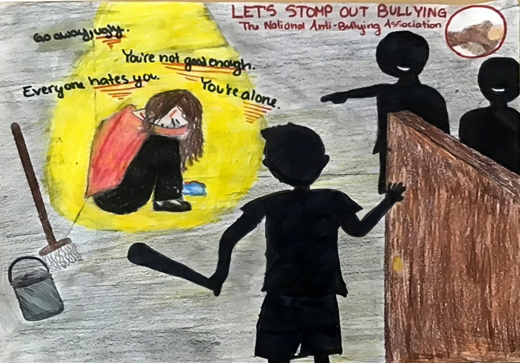 6th grade art lesson - Nonprofit organization advertisement against bullying