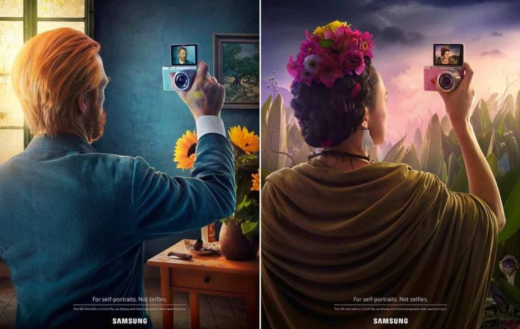 These two ads for Samsung cameras use famous figures (Vincent Van Gogh and frida Kahlo) and a bit of humor to draw its audience and tell a story