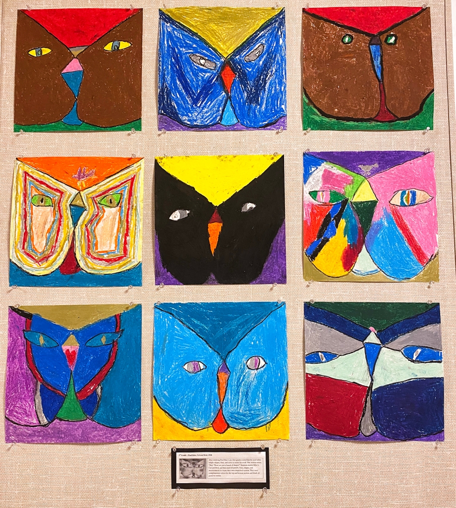 Nine 2nd grade examples of Paul Klee-style cats