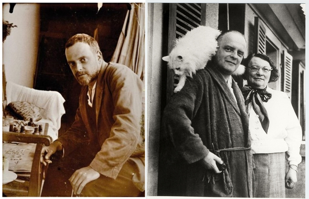 Two photographs pf Paul Klee with his pet cats