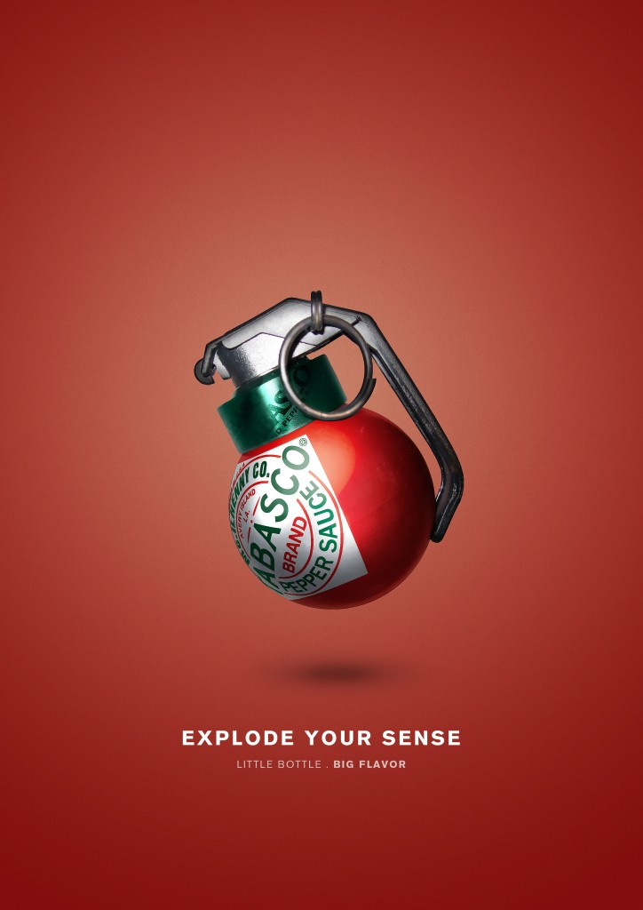 This ad uses visual metaphor to infer the heat packed into Tabasco sauce