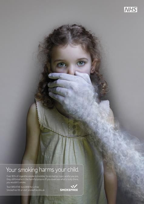 Ad campaign by SmokeFree with clear, effective imagery and simple copy