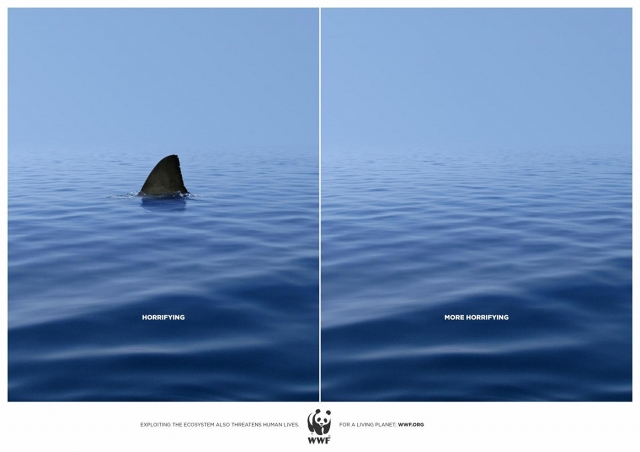 A campaign by World Wildlife Fund advocating for the protection of endangered species. It is spare and monochromatic for effect, though some students feel the copy is too small and should have been bigger