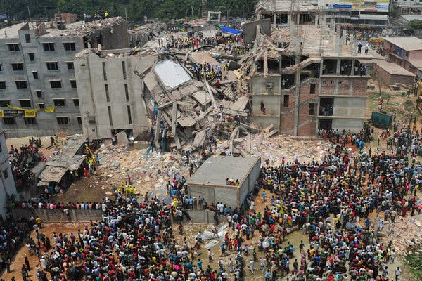 The Rana Plaza Building in Dhaka, Bangladesh killed over 1,100 people in 2013. Workers said that they told factory bosses that the building was unstable the day before, but were still forced to go to work the next day.