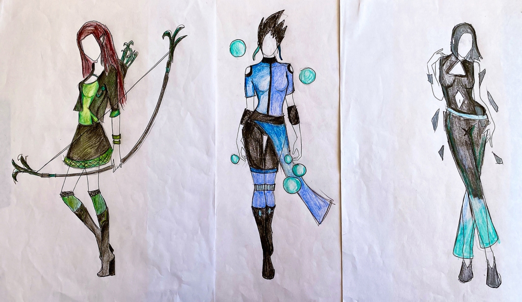"three images of a unified ""look"" for one 7th grade student's fashion line, inspired by fairy tales"