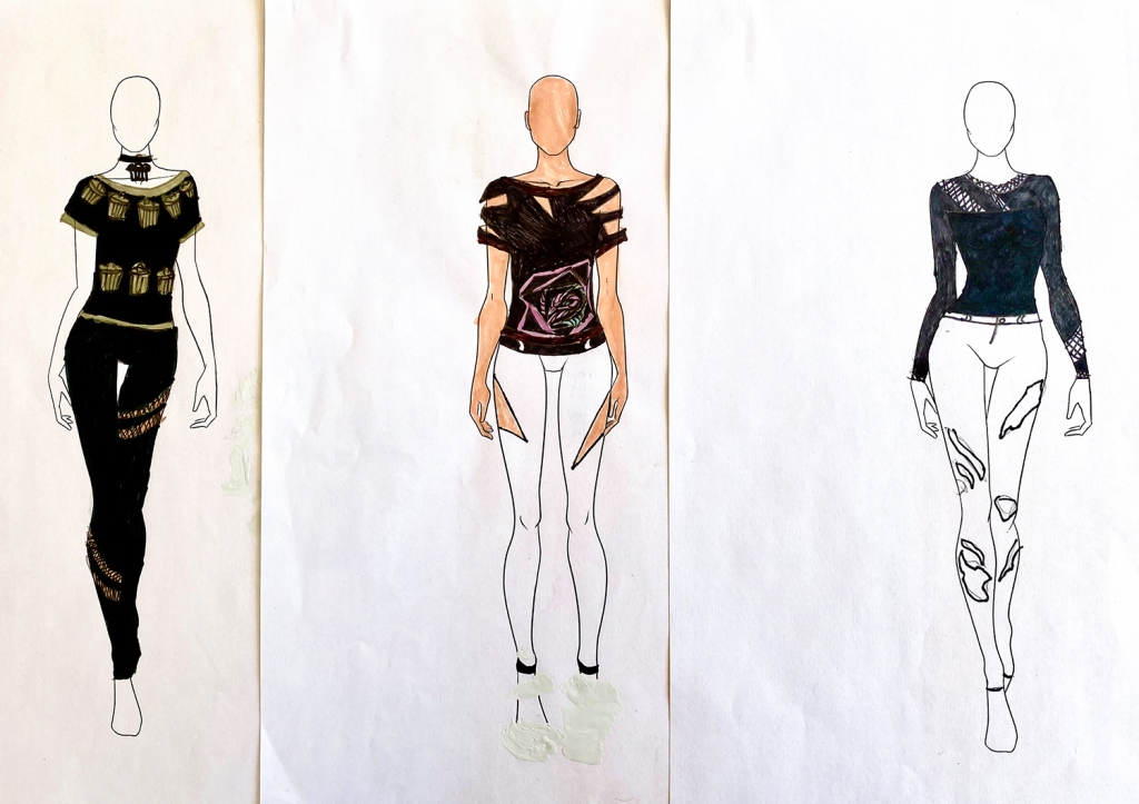 "three images of a unified ""look"" for one 7th grade student's fashion line"