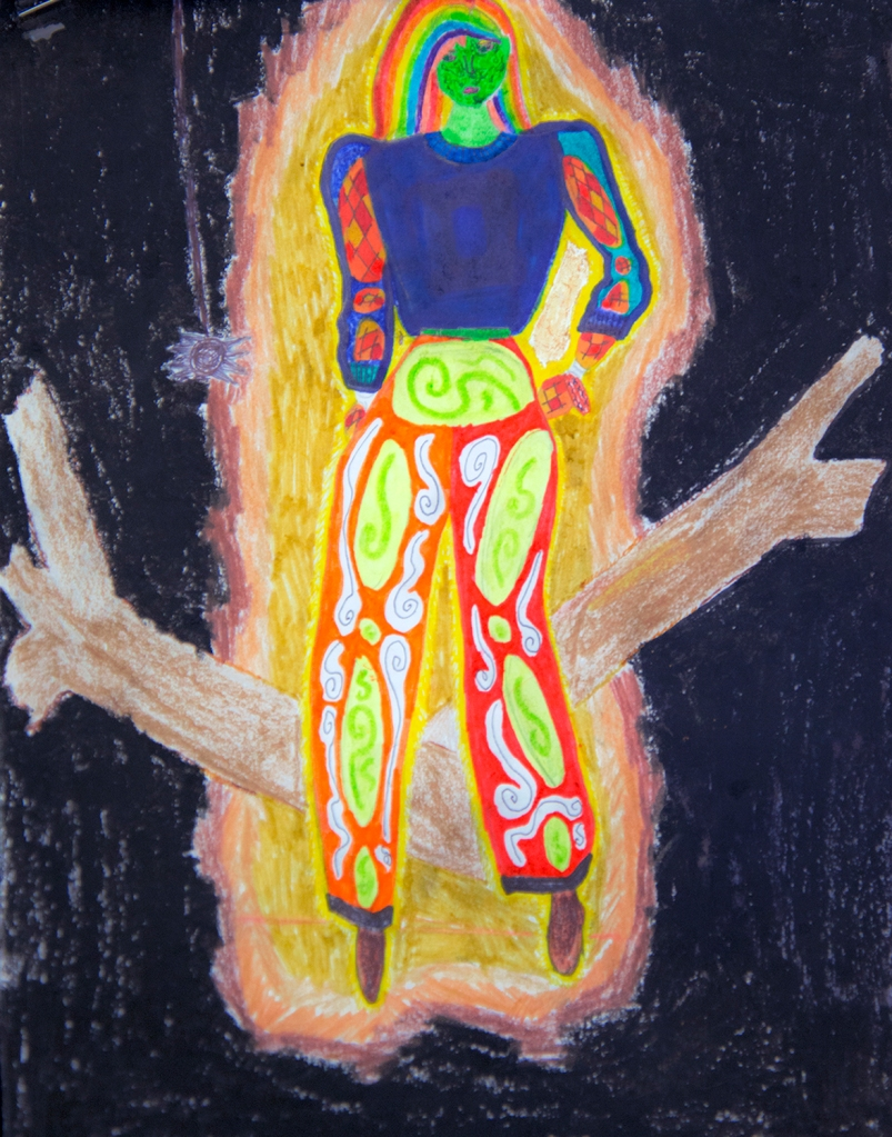 7th grade art - This student opted for the extra challenge of drawing the figure himself, rather than using a template