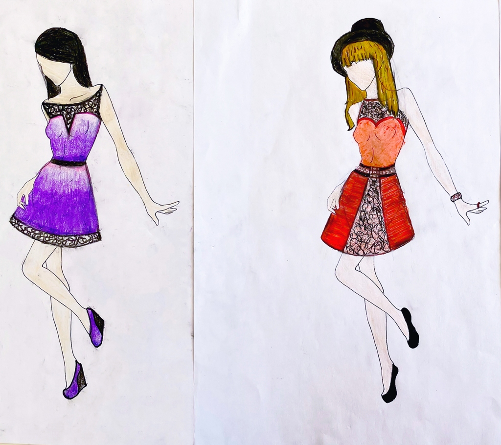 "twoimages of a unified ""look"" for one 7th grade student's fashion line"