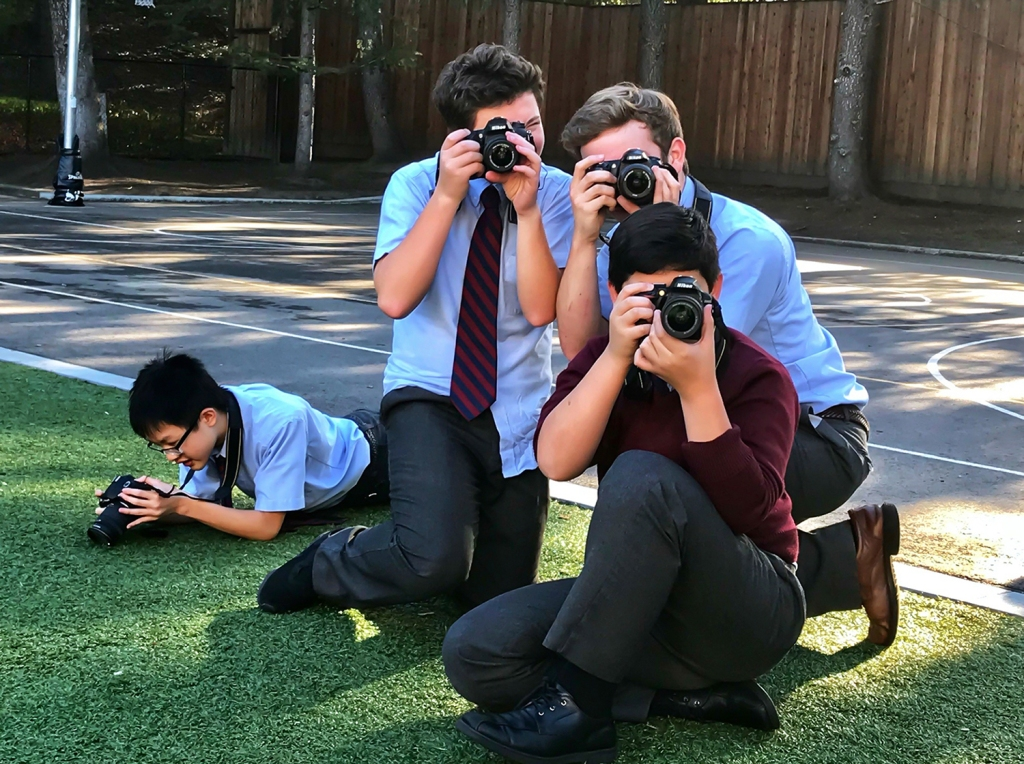 8th grade photography students on our photo excursion