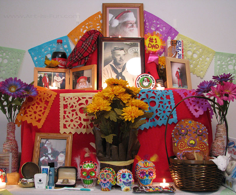 Another example of an altar, this one with calaveritas, or sugar skulls