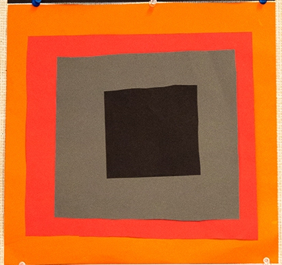 1st grade student work - Homage to the Square, cut out colored construction paper