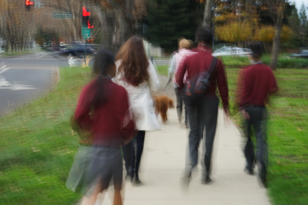 A student used a slow shutter speed to capture the rest of us walking back to campus, setting up a nicely surreal, blurry shot
