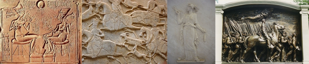 Examples of relief sculpture including bas- or low relief, high relief, and intaglio, or sunken, relief