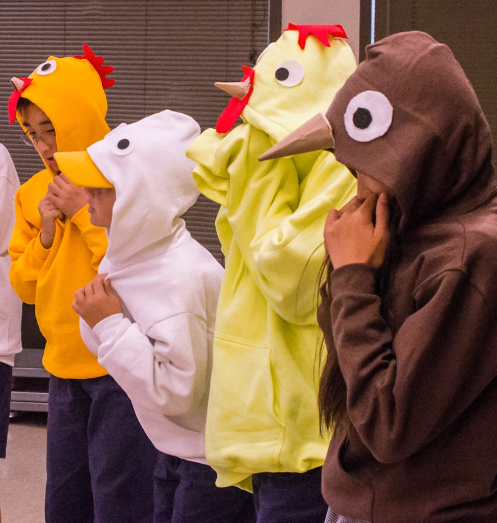 For this particular play students needed to come up with animal costumes. They decided to use solid-color sweatshirts and embellish them with the various features attributed to each animal.