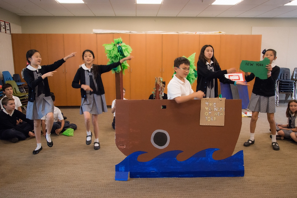 This group worked on a boat complete with ocean, and some palm trees.