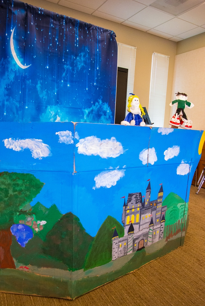 Here is one view of the completed set for the student puppet show.